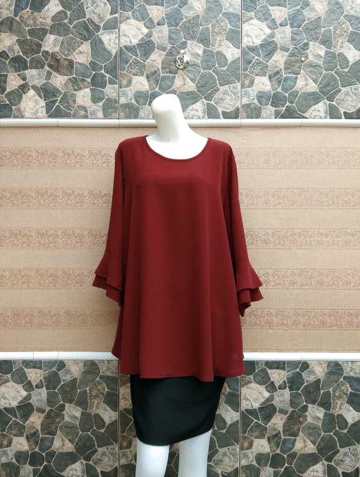 MATMITMUT – Blouse Wanita BIG SIZE 2L, 3L, 4L & 5L Warna Merah Hati
